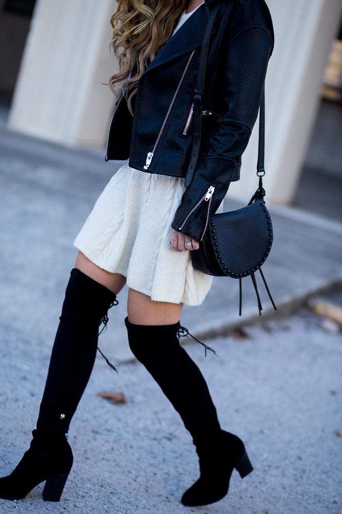 Shannon Jenkins of Upbeat Soles shows you how to style a sweater dress with a Blank NYC leather jacket, Dolce Vita OTK boots, and Rebecca Minkoff saddle bag