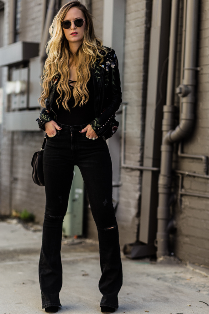Shannon Jenkins of Upbeat Soles styles an edgy winter outfit and does a GlassesUSA review with Blank NYC leather embroidered jacket and black flared jeans