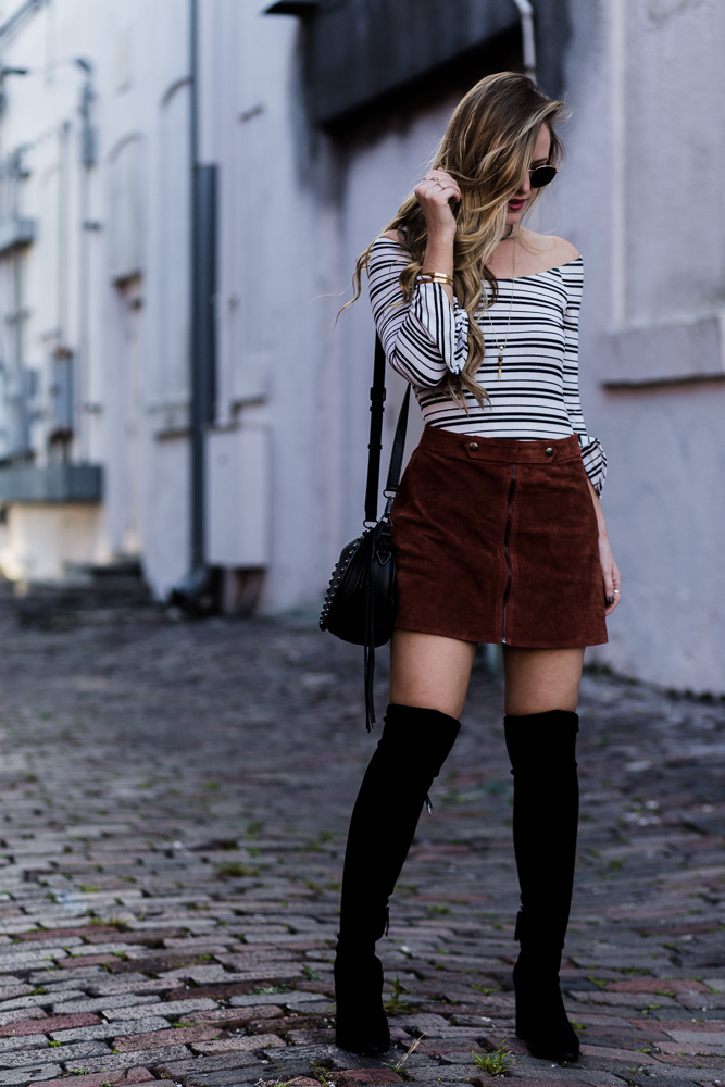 Shannon Jenkins of Upbeat Soles styles an over the knee boots outfit with Forever 21 suede skirt, Abercrombie body suite, and Dolce Vita over the knee boots
