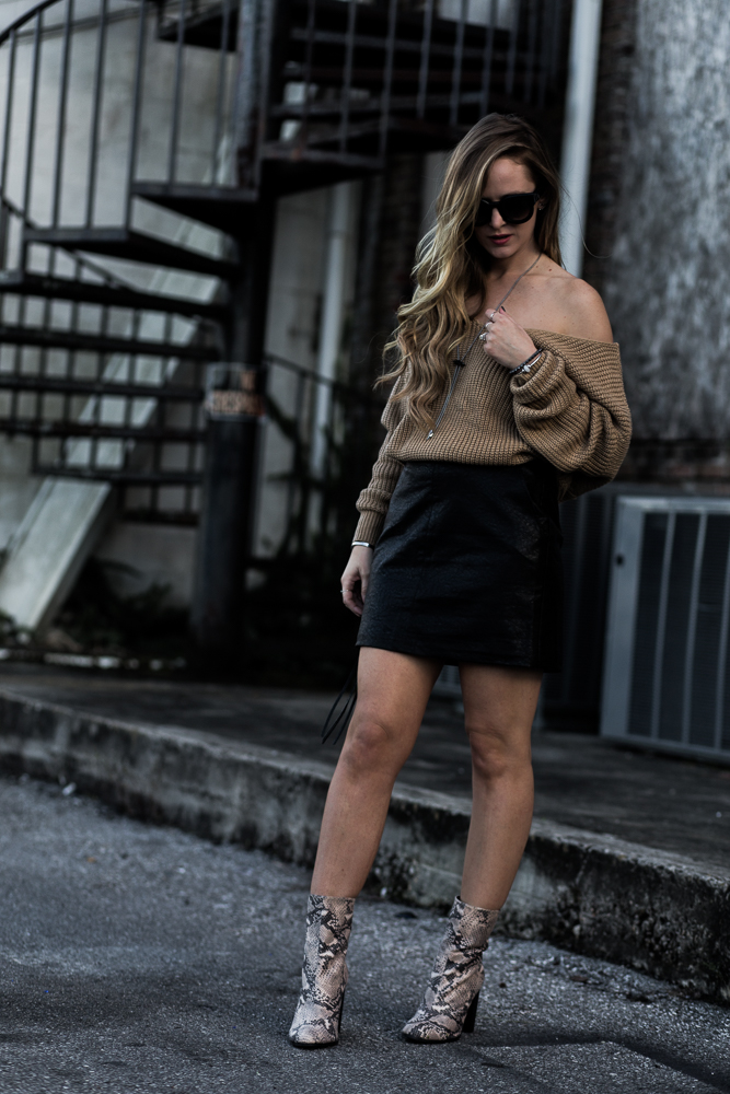 Shannon Jenkins of Upbeat Soles styles Chicwish oversize sweater, Forever 21 faux leather skirt, Target snakeskin booties, and Valley Eyewear Coffin Club