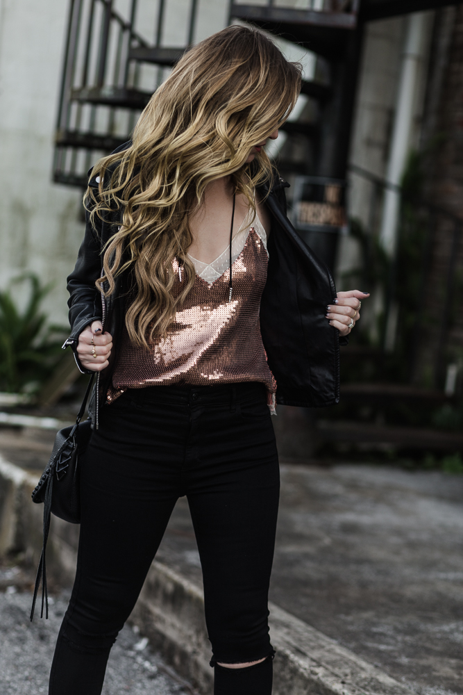 Shannon Jenkins of Upbeat Soles shows how to style sequin top with leather jacket, distressed black abercrombie jeans, and sole society booties