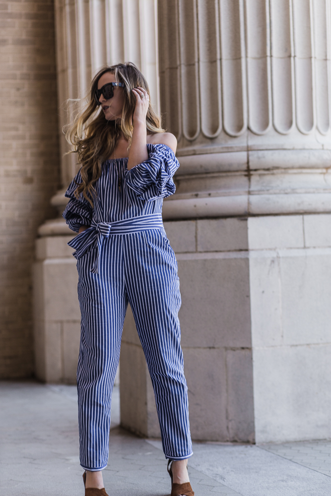 Shannon Jenkins of Upbeat Soles shows how to style a striped jumpsuit for spring with Valley Eyewear sunglasses, brown block heel sandals, and gold choker