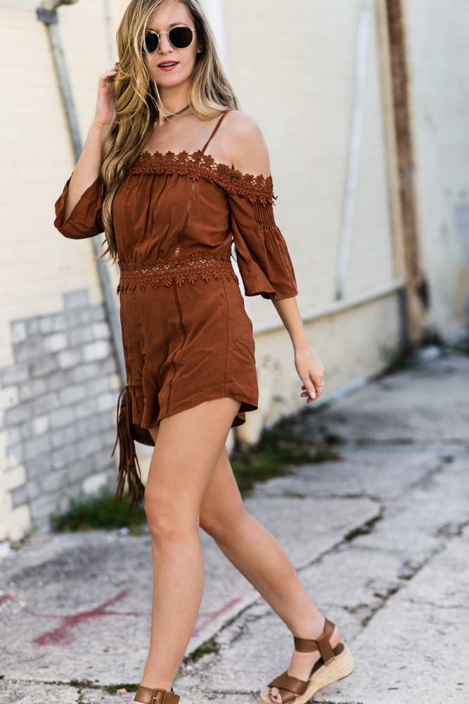 Shannon Jenkins of Upbeat Soles style casual spring boho outfit with forever21 lace romper, Sole Society flatform espadrilles, and round Ray Ban sunglasses