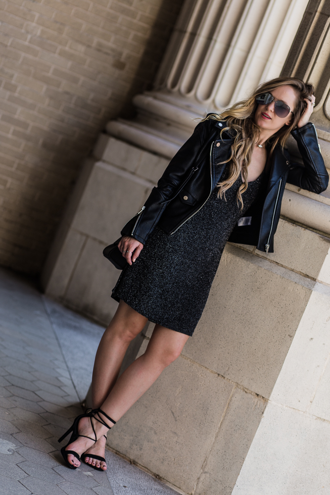 Shannon Jenkins of Upbeat Soles styles a sexy date night outfit with BCBGeneration metallic slip dress, Blank NYC leather jacket, and Quay Playa sunglasses