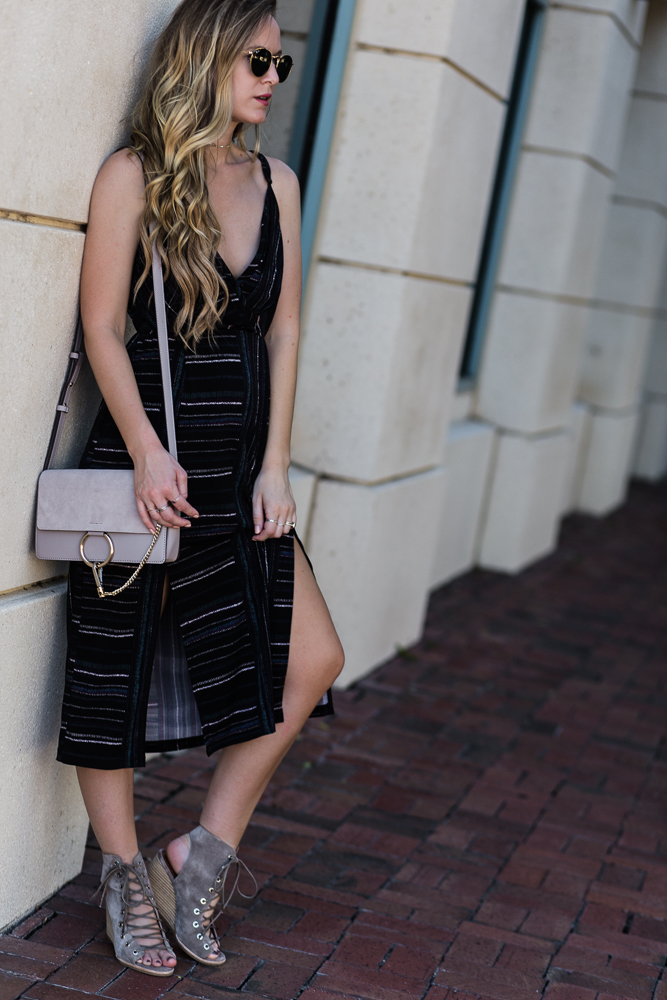 Shannon Jenkins of Upbeat Soles styles a date night outfit with BCBGeneration striped midi dress, Jeffrey Campbell lace up wedges, and round Ray Bans