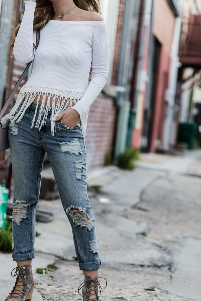 Shannon Jenkins of Upbeat Soles shows how to stye boyfriend jeans with wedges and fringe top, Unpublished jeans, and Jeffrey Campbell lace up wedges