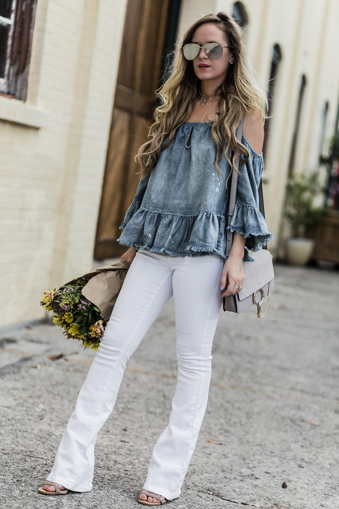 Shannon Jenkins of Upbeat Soles styles an easy spring outfit with Chambray off the shoulder top, white flares jeans, and Quay Playa sunglasses