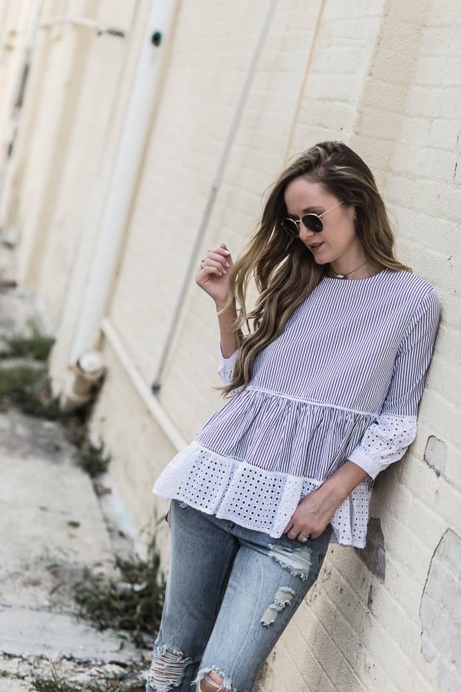 Shannon Jenkins of Upbeat Soles styles an easy weekend outfit with lace babydoll top, distressed Unpublished boyfriend jeans, and Matt Bernson dash sandals