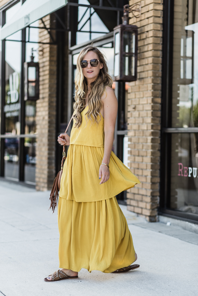 Shannon Jenkins of Upbeat Soles styles a cute summer maxi outfit with Michael Hill layered necklaces, Matt Bernson sandals, and Sancia crossbody bag