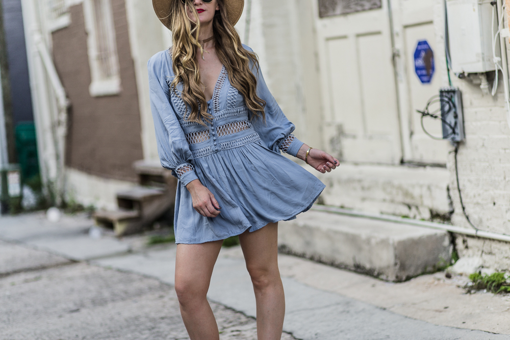 Shannon Jenkins of Upbeat Soles styles 4th of July outfit with Goodnight Macaroon blue boho dress, lace up Dolce Vita sandals, and round Ray Ban sunglasses