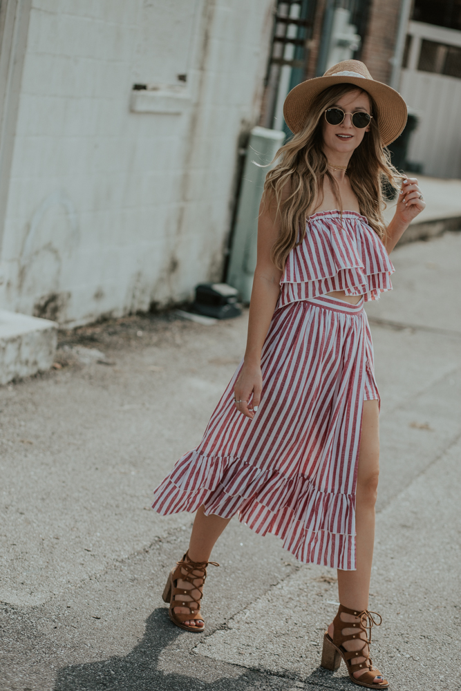 Shannon Jenkins of Upbeat Soles styles a summer two piece set that is striped pairing it with lace up block heel sandals, Baublebar Choker, round Ray Bans