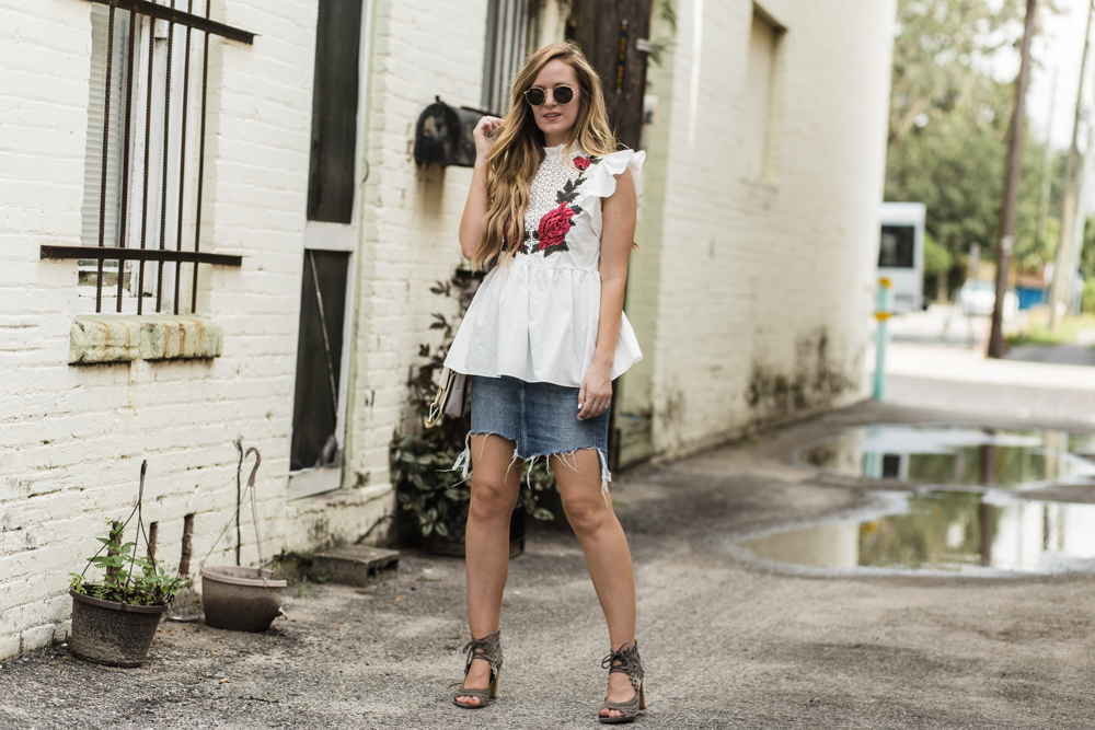 Shannon Jenkins of Upbeat Soles styles a summer date night outfit with Shein embroidered top, H&M denim skirt, and Jefferey Campbell lace up sandals