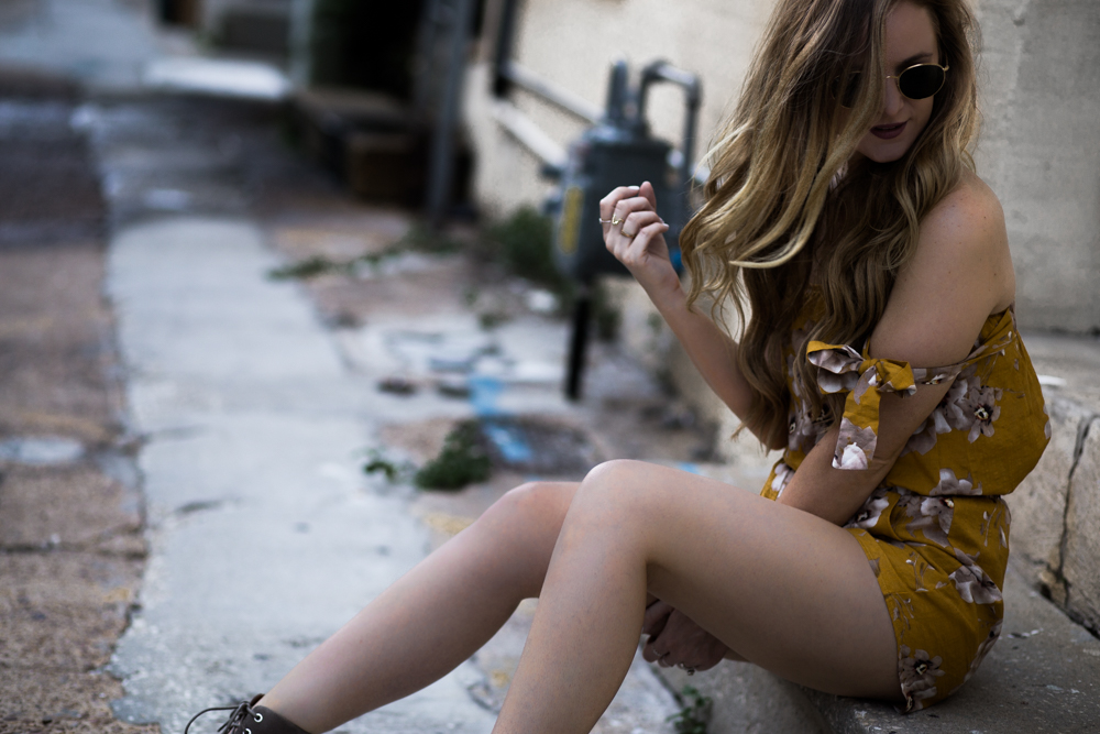 Shannon Jenkins of Upbeat Soles styles casual weekend outfit with yellow floral 2 piece, lace up Jeffrey Campbell wedges, and round Ray Ban sunglasses.