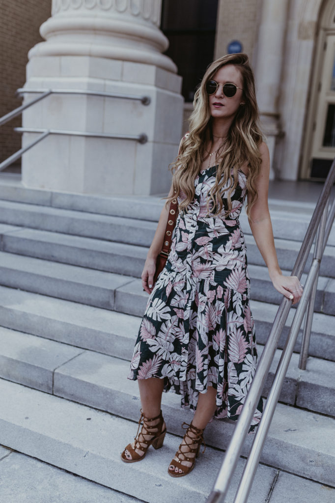Shannon Jenkins of Upbeat Soles styles a date night summer maxi dress with lace up Dolce Vita block heel sandals, Baublebar choker necklace, and Ray Bans