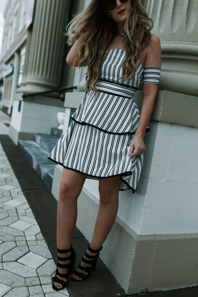 Shannon Jenkins of Upbeat Soles styles a cute wedding outfit with Endless Rose dress, Kendall & Kylie suede heels, and Rebecca Minkoff biker bag