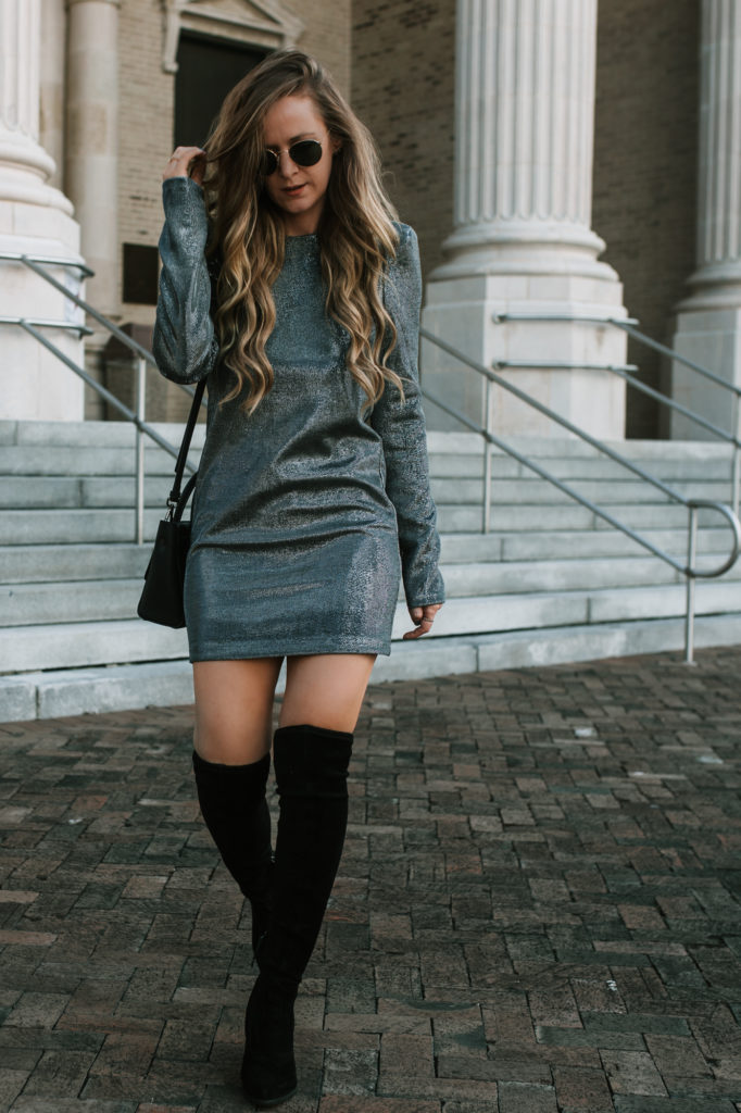 Shannon Jenkins of Upbeat Soles styles a winter going out outfit with H&M sparkle dress, Dolce Vita over the knee boots and round Ray Ban sunglasses