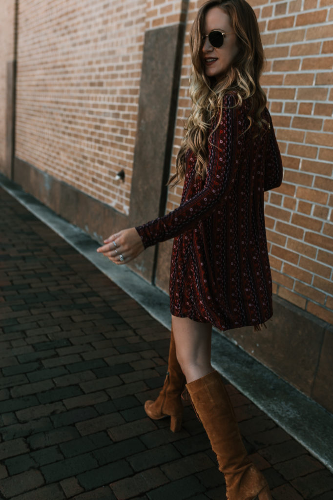 Shannon Jenkins from fashion blog Upbeat Soles styles a BCBGeneration dress with suede lace up boots from Matisse for a casual winter outfit