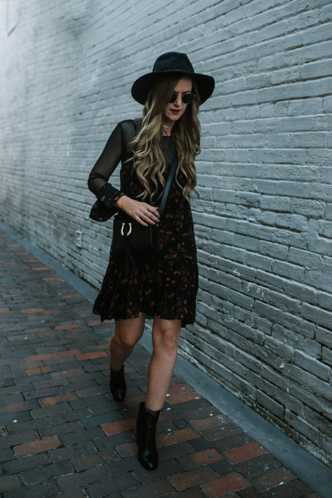 Shannon Jenkins from Upbeat Soles styles a floral and sheer BCBGeneration dress and Schultz zip up booties