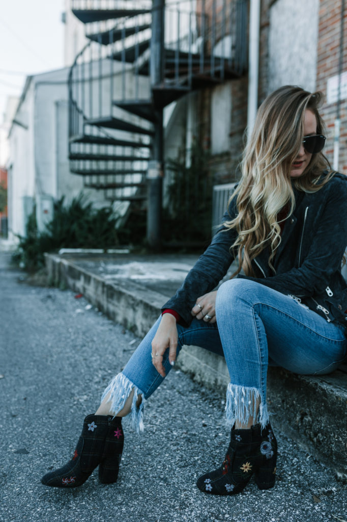 Shannon Jenkins from fashion blog Upbeat Soles styles cropped denim from Cello jeans with Indigo Rd booties and a suede moto jacket
