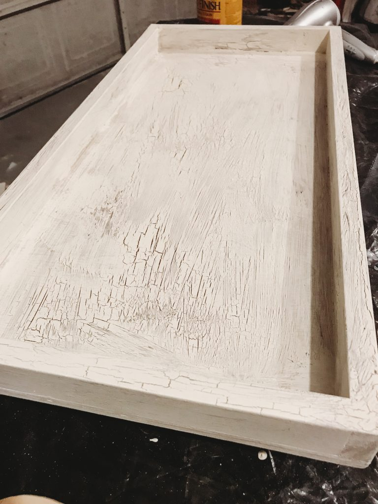 Shannon Jenkins of Upbeat Soles talks about how to build a DIY table tray with Annie Sloan chalk paint and a crackled paint technique