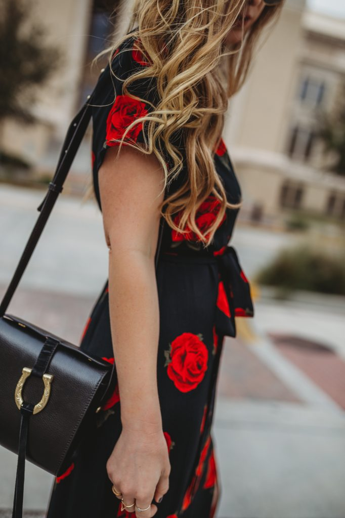 Shannon Jenkins of Upbeat Soles styles a Cute Valentine's Day Outfit idea with a Sanctuary Rose maxi dress, Sancia black bag, and black platform heels