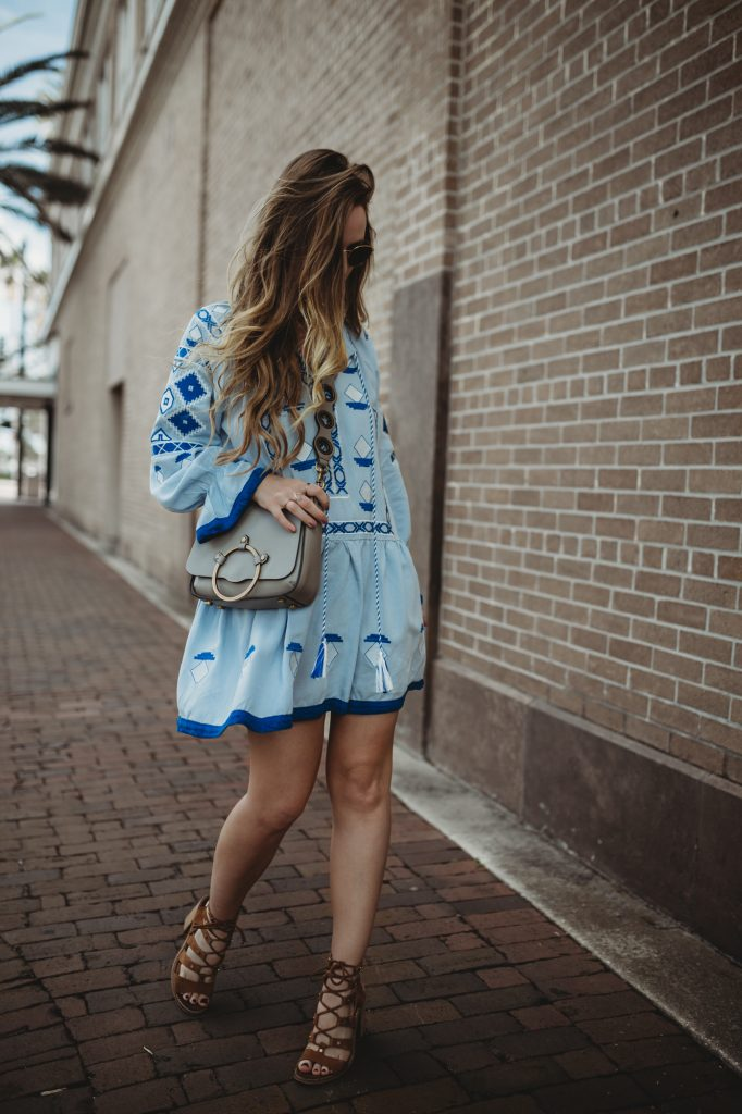 Shannon Jenkins from fashion blog Upbeat Soles styles a spring bohemian outfit with a dress from Chicwish and brown block heels