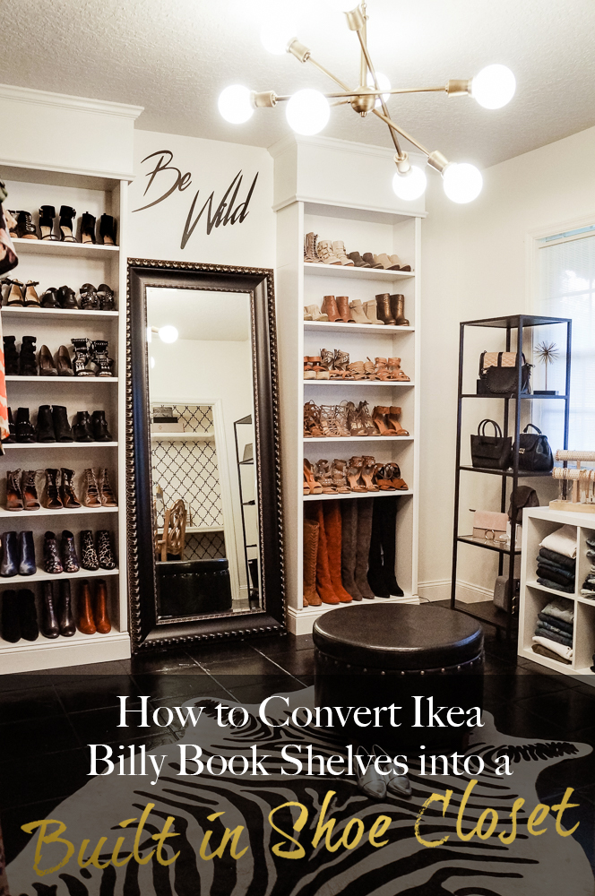 Shannon Jenkins of Upbeat Soles does an Ikea hack with how to DIY a Billy Bookcase into a built in shoe closet or built in bookcase