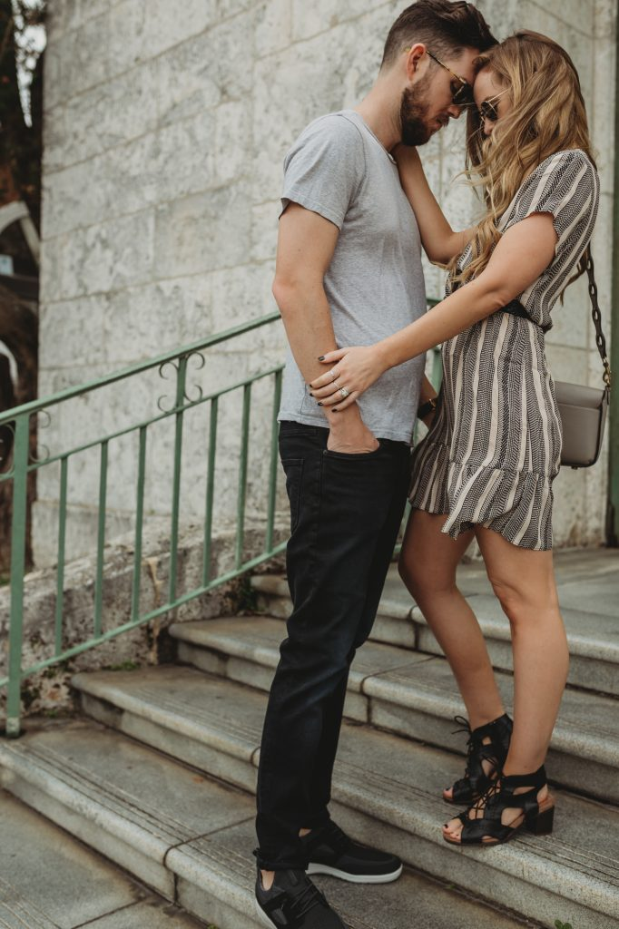 Shannon Jenkins of Upbeat Soles does a his and her date night outfit with a Roe and May dress, Rockport lace up sandals from Zappos and his outfit with H&M jeans and Rockport mens sneakser from Zappos