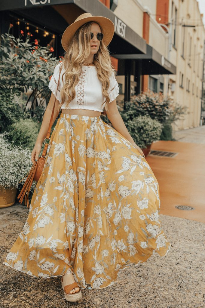 Shannon Jenkins from Florida fashion blog Upbeat Soles styles a summer casual outfit with Chicwish floral yellow maxi skirt and off the shoulder peasant top