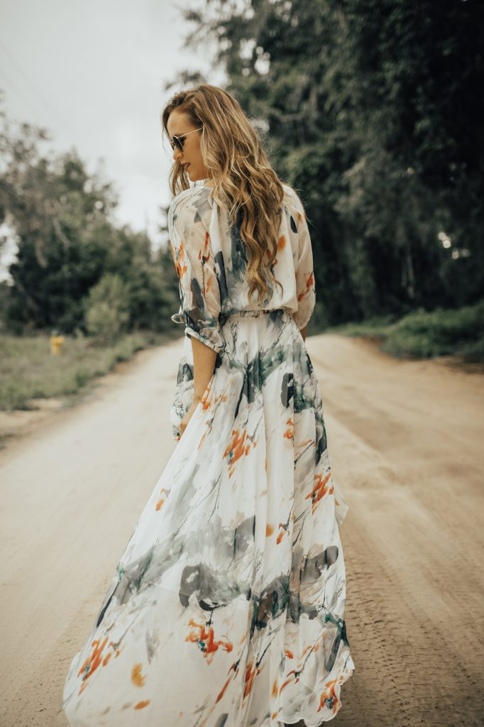 Shannon Jenkins from fashion blog Upbeat Soles styles a chiffon water color maxi dress from from Chicwish for the perfect edgy spring outfit