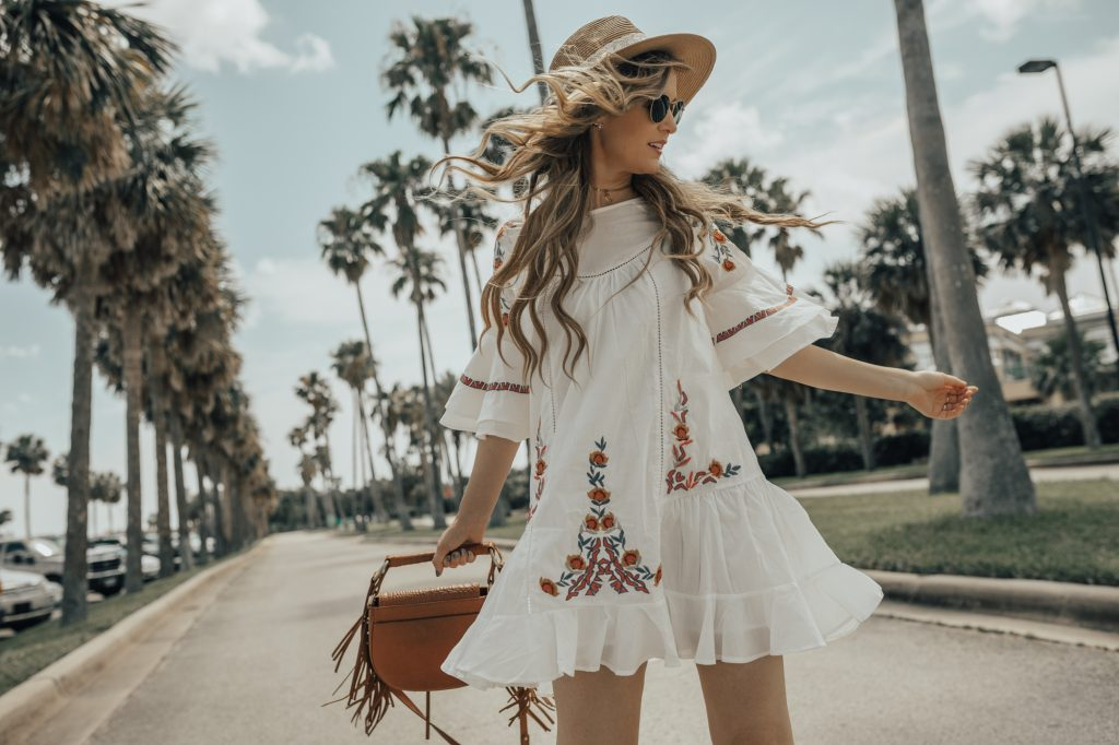 Shannon Jenkins of Upbeat Soles styles a boho summer outfit with Chicwish embroidered dress, cognac wedges, and Sancia crossbody bag