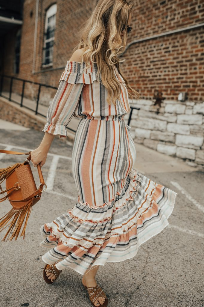Shannon Jenkins from fashion blog Upbeat Soles styles a summery striped maxi dress by Buffalo David Bitton with studded slides and fringe Bag