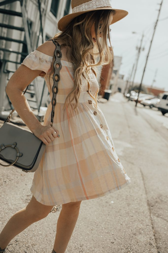 Shannon Jenkins of Upbeat Soles styles a casual summer outfit with plaid off the shoulder dress from Urban Outfitters, lace up wedges, and Rebecca Minkoff ring bag