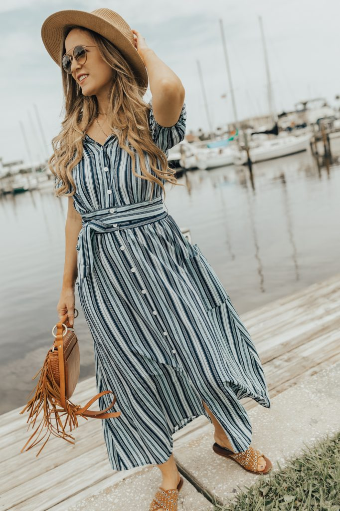 Shannon Jenkins from fashion blog Upbeat Soles styles a stripe maxi from Chicwish and Matt Bernson sandals for a cute summer look