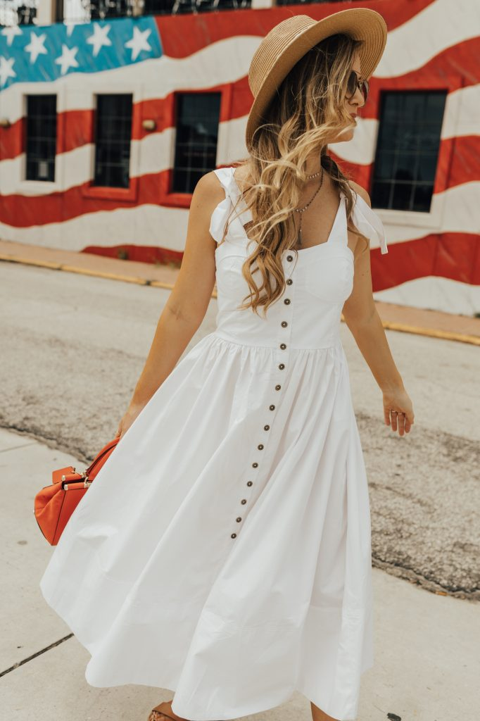 Shannon Jenkins from Florida fashion blog styles a white cami dress from Chicwish for a cute 4th of July look