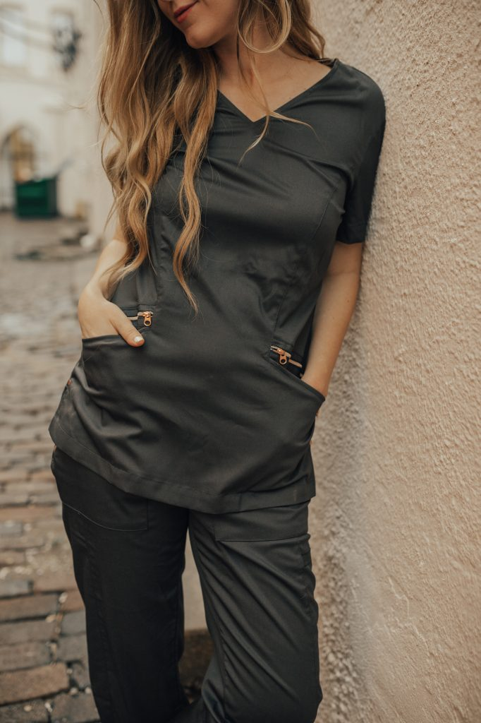 Shannon Jenkins of upbeat soles talks about cute and stylish medical scrubs from Smitten with slim fit scrubs with rose gold details