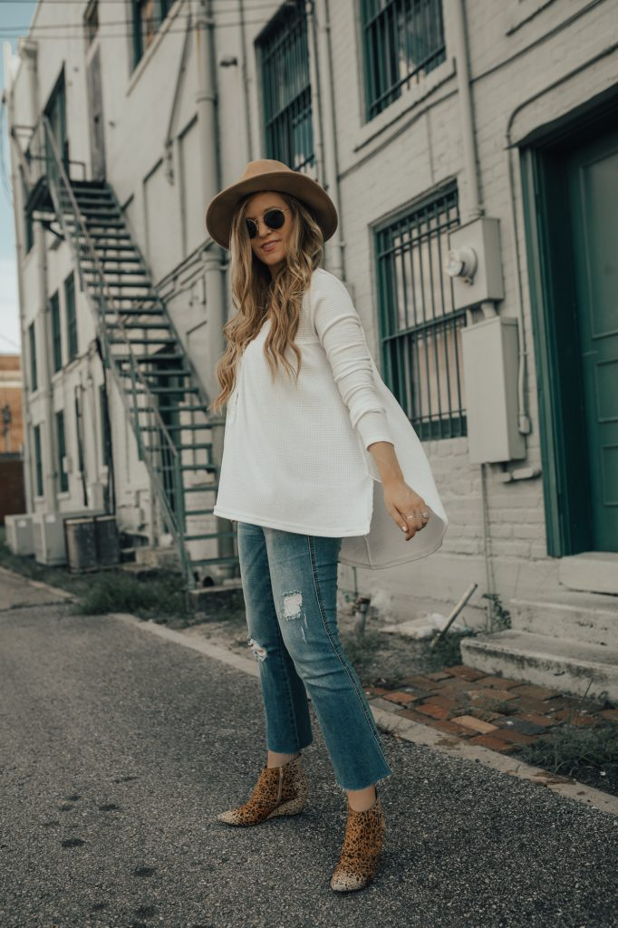 Shannon Jenkins of Upbeat Soles styles a fall maternity outfit with Free People henley, distressed maternity jeans, and Matisse leopard booties