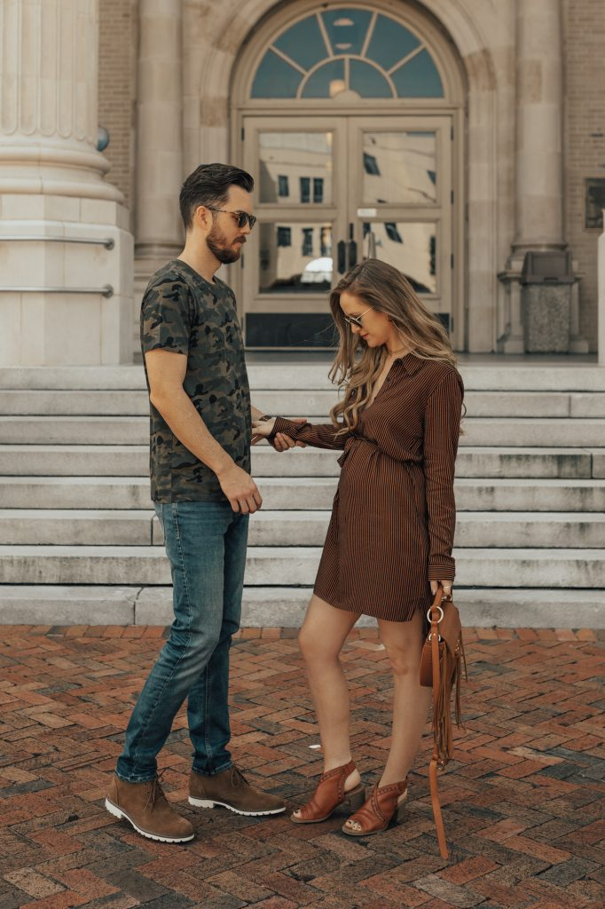Shannon Jenkins fo Upbeat Soles styles his and her outfits for fall with Forever 21 striped dress, Rockport peep toe booties, Camo tee, and desert boots
