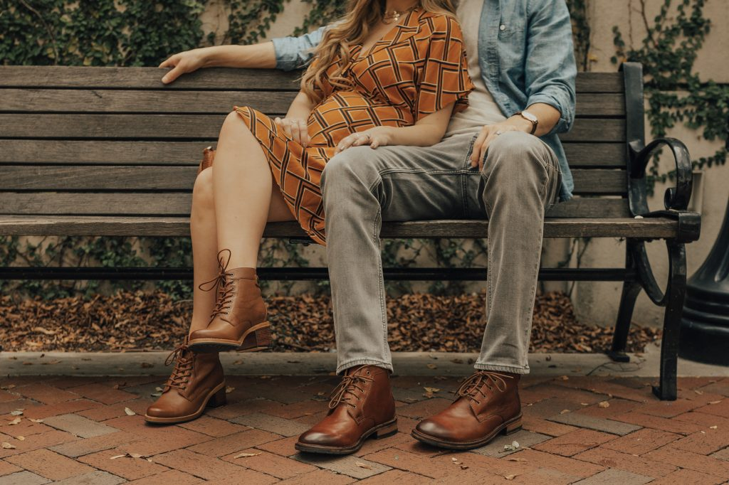 Shannon Jenkins of Upbeat Soles styles his and her cute fall outfits with Clarks ankle boots, Forever 21 mustard dress, and Sancia fringe bag