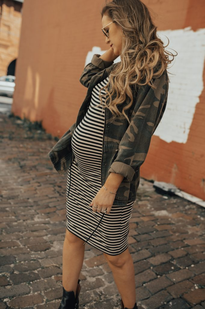 Shannon Jenkins of Upbeat Soles styles a fall edgy maternity outfit with Camo Blank NYC utility jacket, Forever 21 striped dress, Jefferey Campbell boots