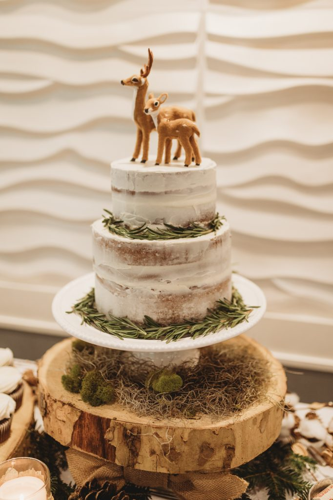 Shannon Jenkins of Upbeat Soles posts her rustic woodland baby shower with woodland animals, naked cake, and DIY center pieces