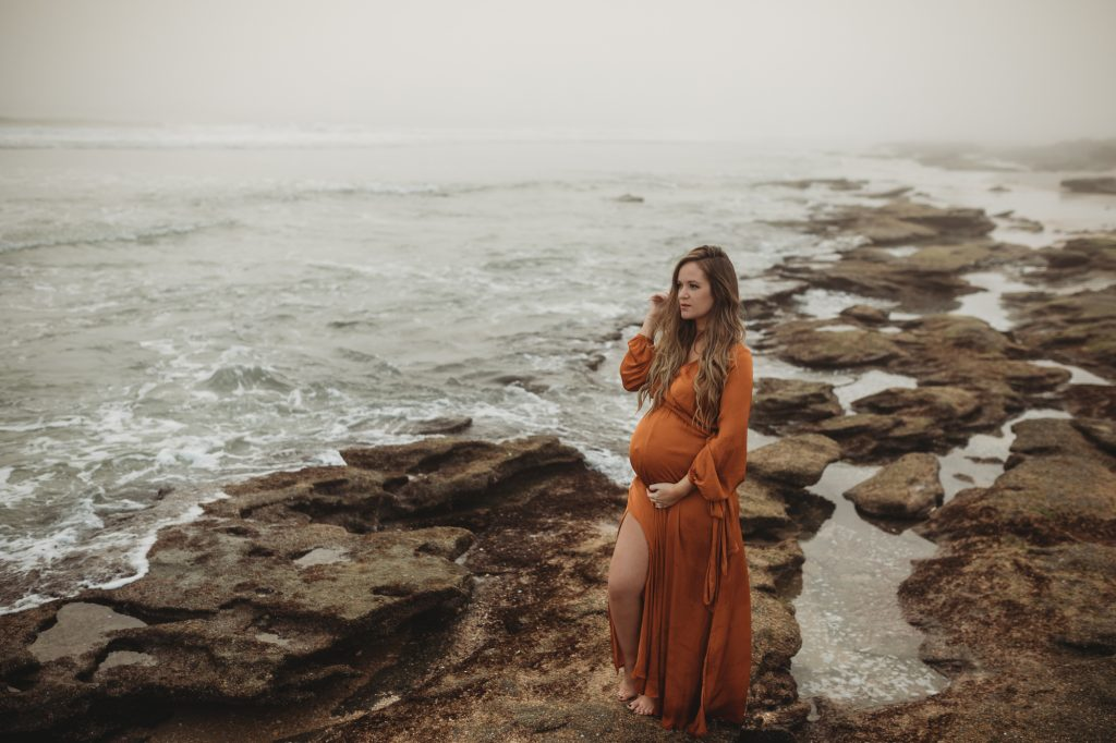 Shannon Jenkins of Upbeat Soles shows her intimate beach maternity photoshoot in Palm Coast Florida with Forever 21 satin maxi dress