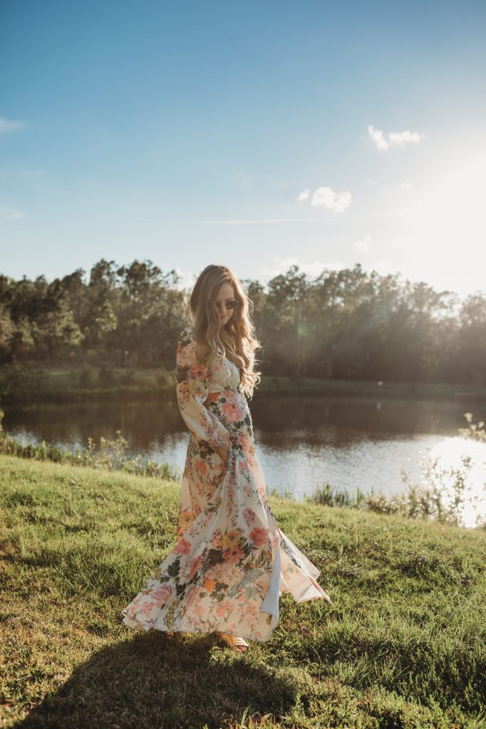 Shannon Jenkins of Upbeat Soles styles a cute Easter outfit with a floral maxi dress from Chicwish and metallic Free People sandals