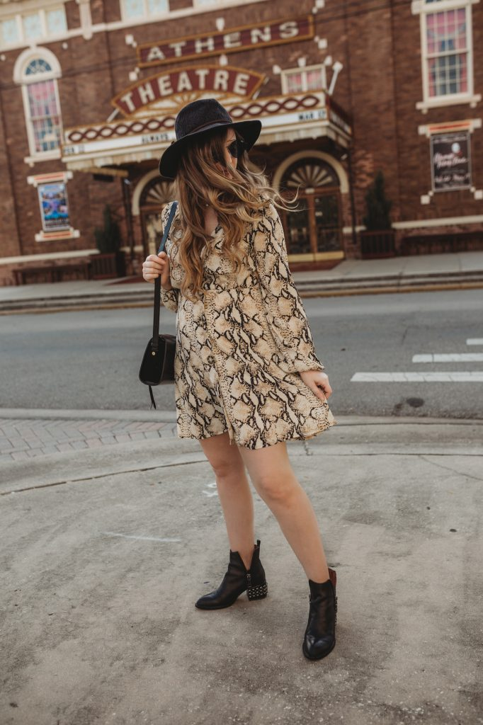 Shannon Jenkins of Upbeat Soles styles a spring transition outfit with snakeskin dress, Jeffrey Campbell booties, and Quay sunglasses