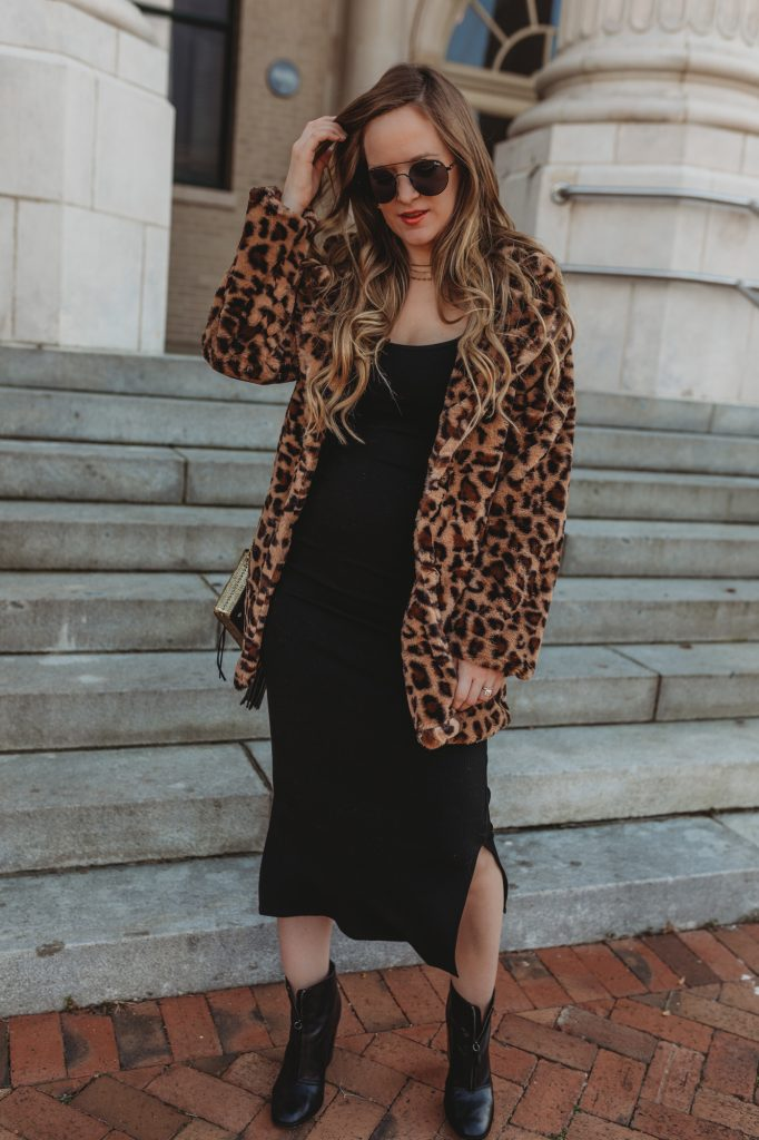 Shannon Jenkins of Upbeat Soles styles a spring date night outfit with fur leopard coat, midi tank dress, black booties, and Quay sunglasses