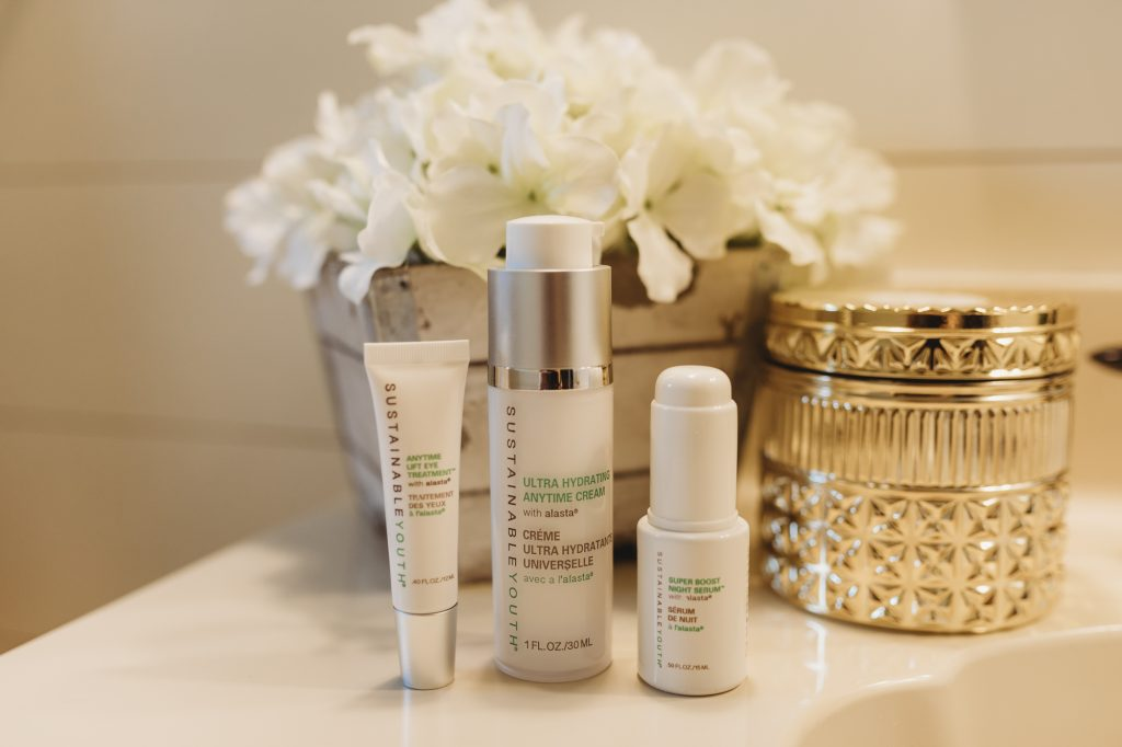 Shannon Jenkins of upbeat soles does a Sustainable Youth Skin Care review on the eye lift treatment, ultra hydrating anytime cream, and super boost night cream