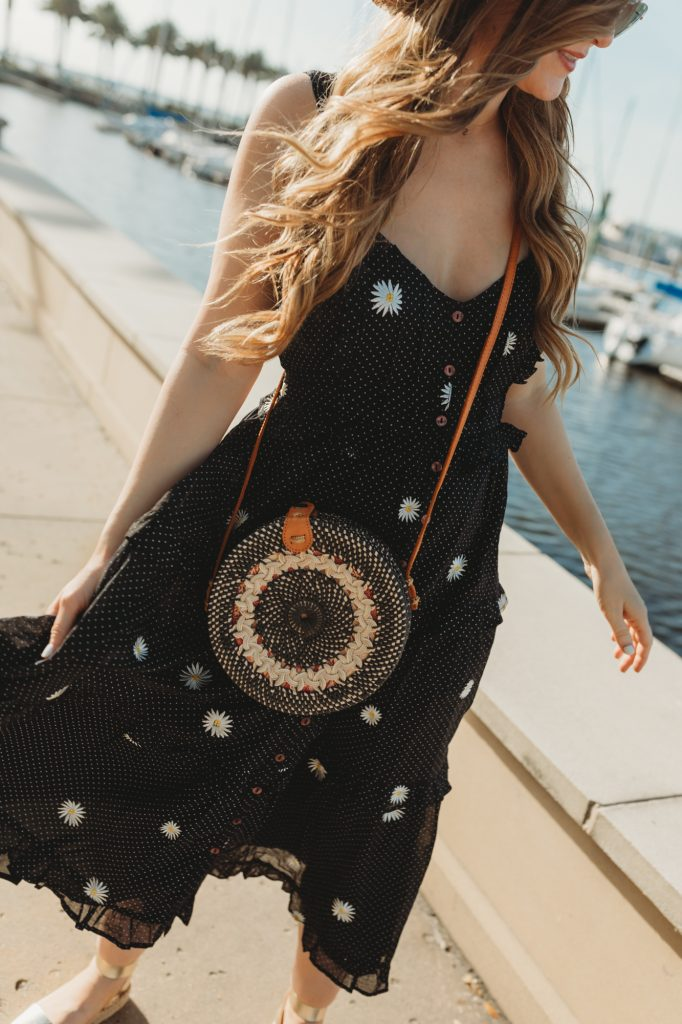 Shannon Jenkins of Upbeat Soles styles a cute summer outfit with Free People floral midi dress, metallic espadrille sandals, and round rattan bag