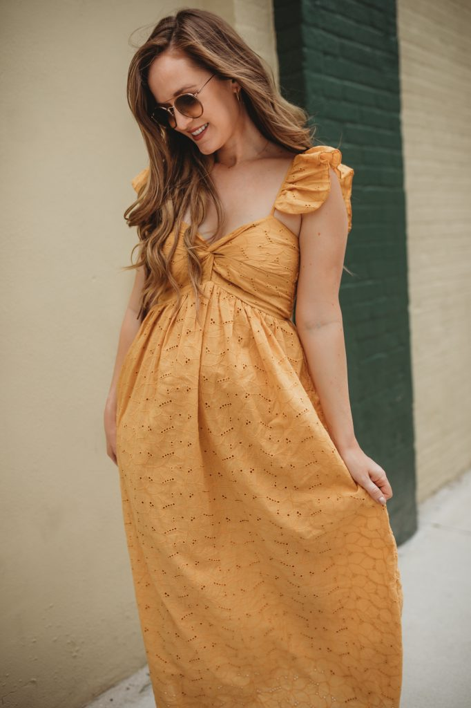 Shannon Jenkins of Upbeat Soles styles a summer weekend outfit with chicwish eyelet mustard maxi dress, and flatform espadrille sandals