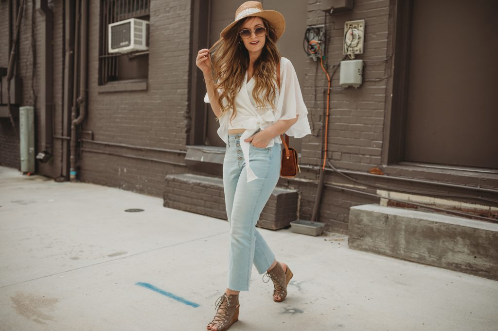 Shannon Jenkins styles a casual summer outfit with Chicwish wrap crop top, Old Navy button up jeans, and Jefferey Campbell lace up wedges