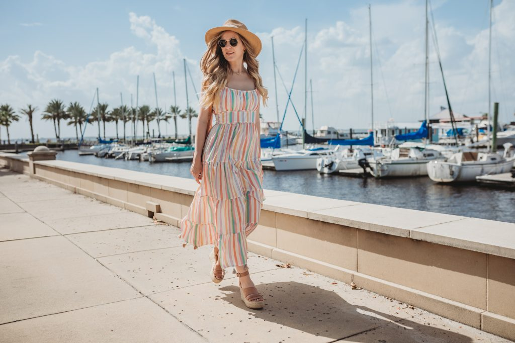 Shannon Jenkins of Upbeat Soles styles a cute summer maxi dress with tassels, Dolce Vita wedges, Sancia crossbody, and straw panama hat
